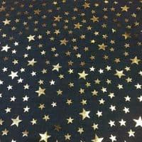 Luxury DENIM Foil STARS Fabric Material - LIGHT BLUE